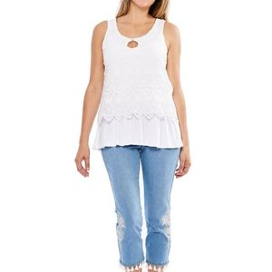 SKYE'S THE LIMIT White lace peplum blouse